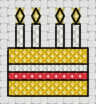 Free cross stitch patterns of cakes (including this one small enough for a gift tag)