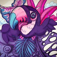 by Román Vélez  #sketch #malen #zeichnung #tucan #djungel #plants #pflanzen Videos, Spiderman, Superhero, Instagram, Anime, Fictional Characters, Art, Spider Man, Art Background