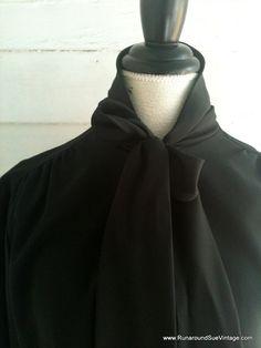 Vintage Black Secretary Shirt by runaroundsuevintage on Etsy, $20.00