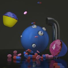 some #drug for #inspiration💊💊💊 #3dart #maxon  #3ddesign #digitalart #dynamics #cinema4d #render #3d #maxon #3ddesign #art #graphics #graphicdesign #3dmodeling #modeling #muffin #eyeball #reflection #pills
