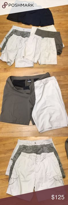 10 Size 42 Shorts Nike Golf Wrangler Tommy Polo + All in Good to Excellent  Condition. Lot of 10 Shorts  9 42s 1 44 3 Pairs of Wranglers Cargo Pic 2 2 Pairs of Nike Golf Dri fit Pic 3 1 Pair of Polo Ralph Lauren Khaki Shorts Pic 4 in size 44 1 Pair of Navy Blue Tommy Hilfiger Shorts  Pic 5 1 Pair of Black Allen Flusser 1 Pair of dark Blue Round Tree & York And 1 Pair Dark Blue Golfing Shorts   See pics and make me an offer please keep in mind the extra cost of shipping for its weight…