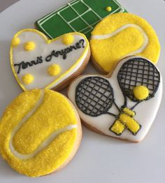Tennis Tips Videos Treats Men Editorial Tennis Cake, Tennis Party, Tennis Gifts, Tennis Dress, Royal Icing Cookies, Sugar Cookies, Food Allergies, Cookie Decorating, Treats