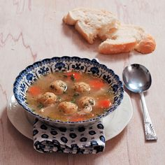 Matzo balls add delicious flavour and texture to this chicken soup.