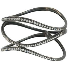 Antonini Contemporary Diamond Bangle Bracelet With Black Rhodium Finish | From a unique collection of bangles at https://www.1stdibs.com/jewelry/bracelets/bangles/
