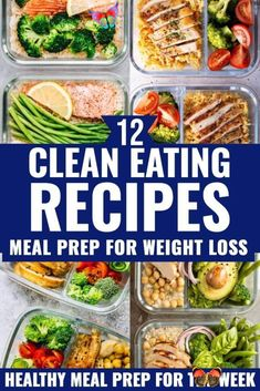 12 Clean Eating Recipes For Weight Loss: Meal Prep For The Week Lose weight & stay on budget with these clean eating recipes for weight loss! Meal prep these healthy lunches and clean eating dinners ahead to save time & enjoy weight loss & lose belly fat while enjoying delicious, clean eating food! From easy crockpot chicken to sheet pan vegetarian options these clean eating meal prep recipes will help you lose weight, save money & get healthy! #ketogenicreicpes  #healthyrecipes… Clean Eating Recipes For Weight Loss, Weight Loss Meals, Clean Eating Meal Plan, Clean Eating Dinner, Clean Eating Snacks, Healthy Eating, Healthy Lunches, Healthy Weight Loss, Healthy Food