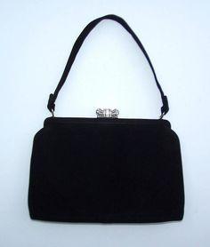 Classic 1950's Coblentz Black Suede Evening Handbag With Rhinestone Closure