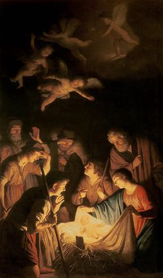 Nativity Painting - Adoration Of The Shepherds by Gerrit van Honthorst