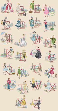 A Parisian Alphabet cross stitch chart Cross Stitch Letters, Cross Stitch Love, Cross Stitch Samplers, Cross Stitch Charts, Cross Stitch Designs, Cross Stitching, Cross Stitch Embroidery, Embroidery Patterns, Hand Embroidery