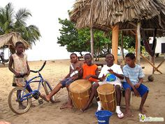 Hopkins village, Belize Garifuna drumming boys