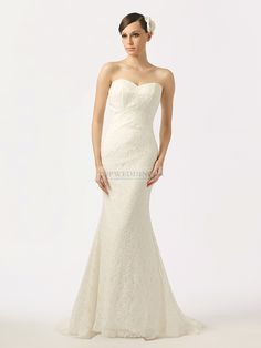 Strapless Lace Empire Waist Silhouette Wedding Gown With Slightly Flared Skirt
