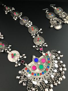 Tribal Kuchi Afghan Necklace Set with Earrings Material : German Silver ( Not Pure Silver ) Necklace length : Long Style : Boho & Hippie Necklace Lengths, Necklace Set, Women Clothing Stores Online, Silver Jewellery, Jewelry, Hippie Boho, German, Clothes For Women, Earrings