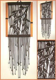 Macrame Wall Hanging Sprig In Frame Handmade Macrame Home Decor