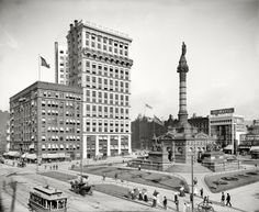 Cleveland: Public Square: 1900. The BP building is now built where the two buildings on the left are.