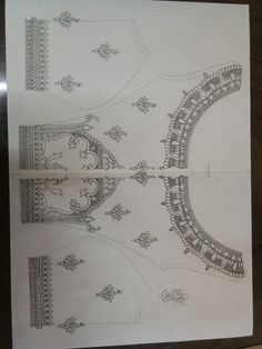 Hand Embroidery Projects, Embroidery Neck Designs, Bead Embroidery Patterns, Hand Work Embroidery, Crewel Embroidery, Beaded Embroidery, Neck Drawing, Hand Work Design, Pattern Sketch