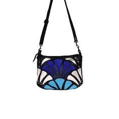 Leather top zip cross body bag in black , blue and cream. Inspired by art deco design Leather Crossbody Bag, Leather Handbags, Art Deco Design, Cross Body, Fashion Accessories, Zip, Cream, Inspired, My Style