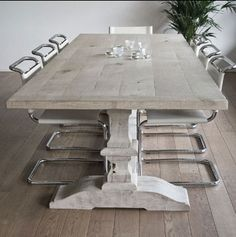 "Malvini ""Desiree"" Trestle table in grey oak.  Um..... YUM.  Divine!"