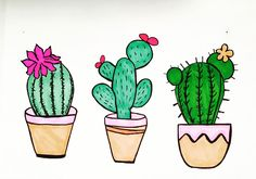 Doodles of Cactus Marker - # Marker - Apricot Pho . Cactus Drawing, Cactus Painting, Cactus Art, Ceramic Painting, Ceramic Art, Cactus Plants, Succulent Drawings, Mini Cactus, Cactus Doodle
