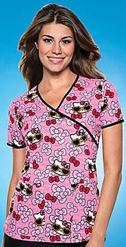 Hello Kitty Summer Fun Contrast Mock Wrap Scrub Top