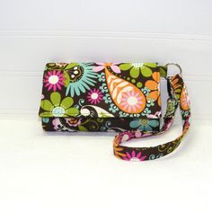 Cell Phone Wallet Wristlet  Cute Floral Paisley on Brown