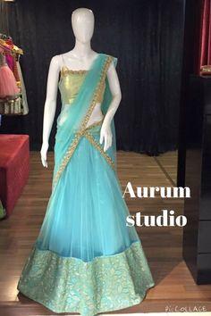 Half saree Half Saree Designs, Lehenga Designs, Saree Blouse Designs, Indian Attire, Indian Ethnic Wear, India Fashion, Ethnic Fashion, Women's Fashion, Half Saree Lehenga