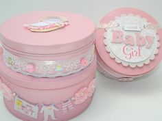 Soft Pink Baby Girl Tin Trio Embellished Tins by HeavenlyWings, $55.00