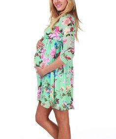 Mint Green Floral Maternity Empire-Waist Dress - Women | Daily deals for moms, babies and kids Zulily 34.99