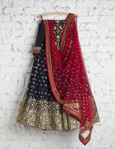 SwatiManish Lehengas | 109 SMF LEH 111 17 | Indigo lehenga with gold daman and scralet dupatta with blue thread work blouse