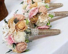 Romantic Wedding Bouquet -Small Alternative Natural Sola Flower Bridal Bridesmaid Bouquet, Keepsake Wood Bouquet, Shabby Chic Rustic Wedding