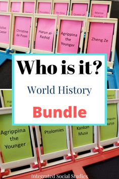 Students need practice recognizing names in world history. Have fun while reviewing the names important to world history curriculums. This resource comes with various sizes for different game boards as well as multiple pre-selected game boards that includes every major culture studied in world history courses. Check out all of the details in my TpT store. #gamesintheclassroom