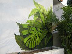 íris garden | canto direito da parede e emebaixo vai ser um … | Flickr Mural Wall Art, Graffiti Wall, Mural Painting, Wall Art Decor, Paintings, Motif Tropical, Tropical Art, Tropical Leaves, Garden Mural