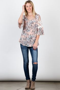 Blush Lace Shoulder Half Sleeve Floral Pritn Top! #fashion #USA #streetwear #streetstyle #streetfashion #trend #outfit #fashionweek #fashionshow #beauty #Sleeveless Fashion Usa, Trendy Fashion, Fashion Show, Fit Flare Dress, Half Sleeves, Fashion Boutique, Streetwear, Blush, Street Style