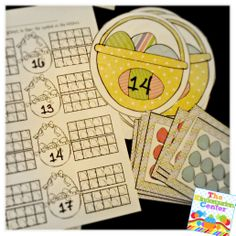Students count the eggs on the card, match to the basket with that number and fill in the double tens frame.