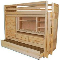 BUNK BED LOFT ALL IN1 W/ TRUNDLE DESK CHEST CLOSET Paper Patterns DETAILED STEP BY STEP DIY PLANS So