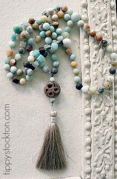 Matte Amazonite  Handknotted Tassel Necklace - The Santa Cruz Necklace-necklace, handknotted, amazonite, tassel, smooth, matte, resort collection, tippy stockton