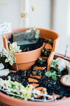 diy fairy garden, container gardening, crafts, gardening