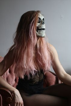Scary & Sexy Halloween costume in the same time. Easy to do it yourself, just put on transparent bodysuit + fishnet panties & skull mask and your party costume is ready - # transparentbodysuit Sexy Halloween Costumes, Diy Costumes, Body Suit Outfits, Sexy Outfits, Black Bodysuit Outfit, Long Pink Hair, Skull Mask, Fishnet, Scary