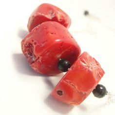 Red coral necklace made of chunky bright crimson by Boskybelle