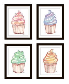 Children Illustrations Set of 4 Cupcake Prints Wall by jojolarue, $38.00