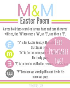 Free Printable M&M Poem