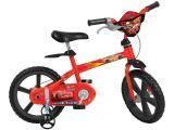 Bicicleta Infantil Disney Cars Aro 14 - Bandeirante Vermelho com Rodinhas