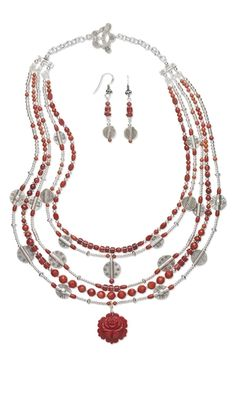 Multi-Strand Necklace and Earring Set with Coral Gemstone Beads and Focal, Hill Tribes Fine Silver Beads and Sterling Silver Beads