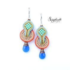 Small colorful soutache earrings with sterling by Sengabeads