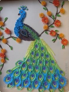 Painting mural drawing Birthday Peacock Paper Quilling Photo 1