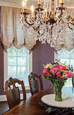 Beading adds sparkle to the dining room window treatments in this Cincinnati home. Photo by Robin Victor Goetz.