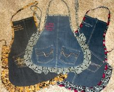 blue jean aprons by mommawsb~So many aprons!!! Love these with Pockets!!