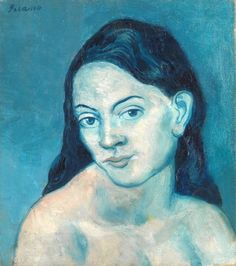 Pablo Picasso - Head of a Woman, 1903 at New York Metropolitan Art Museum Pablo Picasso, Art Picasso, Picasso Paintings, Georges Braque, Spanish Painters, Spanish Artists, Henri Matisse, Picasso Blue Period, Paul Gauguin