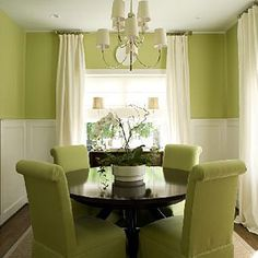 Cheer It Up: Natural wood and white accents balance this bright shade of green and keep it from becoming overwhelming. To keep the room light and airy, paint ceilings and trim white. Paint: Bella Mint (SR708) by Valspar; valspar.com.