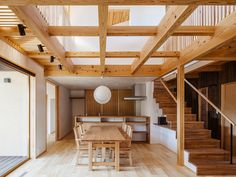 Criss-crossing wooden beams fill a void inside Studio Aula's Cocoon House Good feng shui. Court-house like. Architecture Design, Japanese Architecture, Architecture Interiors, Interior Design Inspiration, Home Interior Design, Design Ideas, Wooden House Design, Wooden Houses, Timber Beams