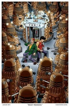 "From ""Bring Me The Strangest Fan Art"", Christopher Jones' illustration of Bill and Ted vs. the Daleks. ""Most heinous."""