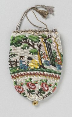 Woman's Bag (Reticule) | LACMA Collections Europe, circa 1810 Silk knit with glass beads and silk cord Overall: 4 3/8 x 3 1/8 in. (11.1125 x 7.9375 cm)